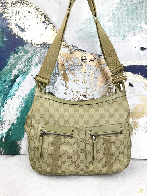 GUCCI Beige GG Web Canvas Shoulder Bag