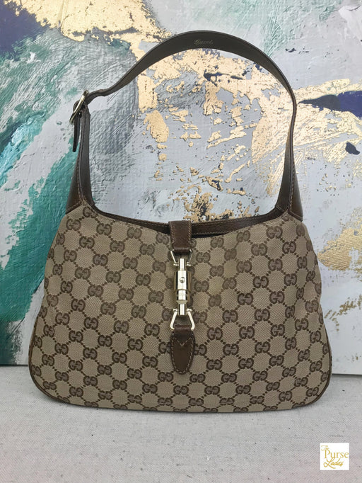 GUCCI Beige GG Web Canvas Jackie O Shoulder Bag
