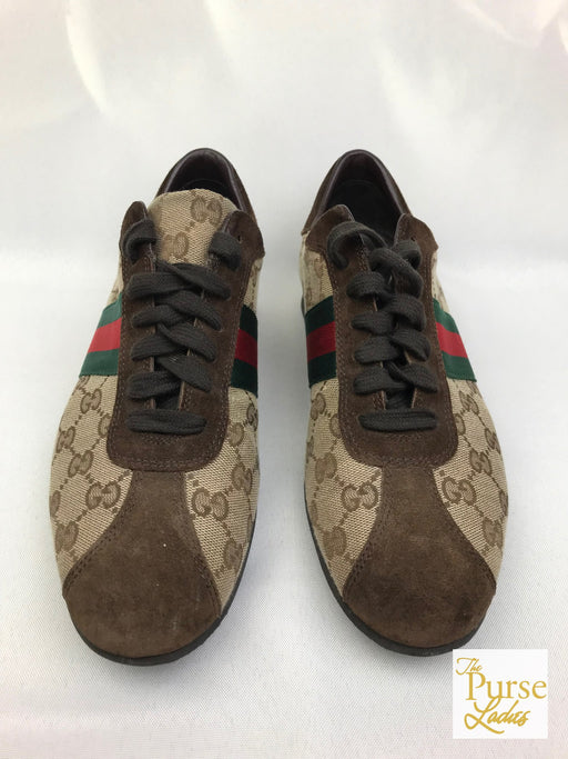 GUCCI Beige GG Web Canvas Striped Sneakers SZ 40.5