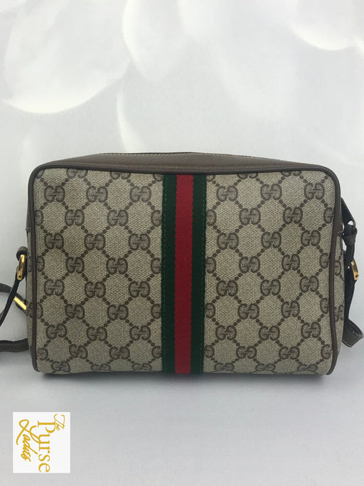 GUCCI Brown Coated Canvas GG Web Vintage Ophidia Crossbody Bag