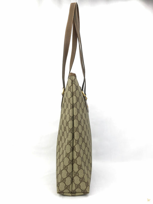 GUCCI Beige GG Web Vintage Zippered Vertical Tote