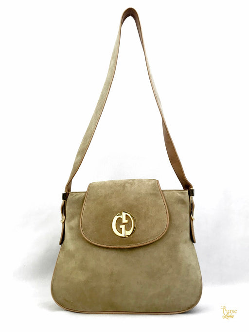 GUCCI Beige Suede Flap Vintage 1973 Shoulder Bag