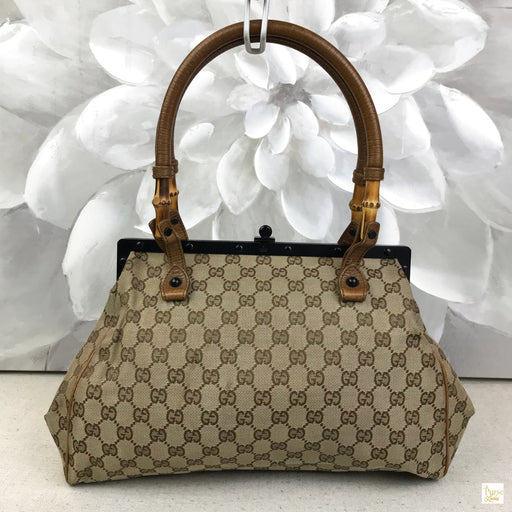 GUCCI Beige GG Web Bamboo Frame Shoulder Bag