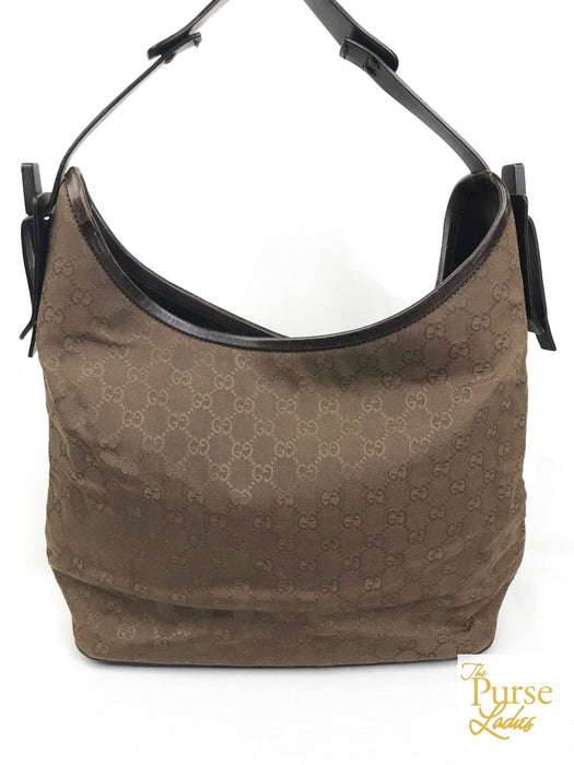 GUCCI Dark Brown Monogram GG Web Canvas Hobo