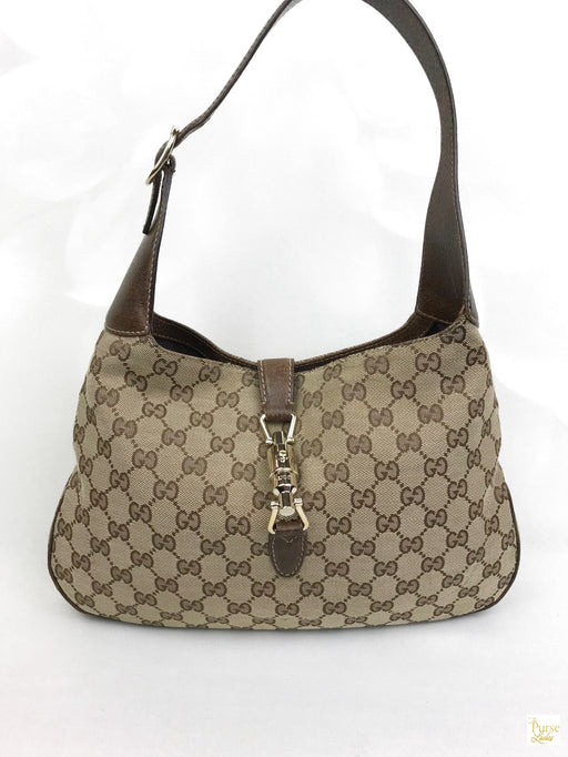 GUCCI Beige GG Web Canvas Piston Lock Jackie Hobo