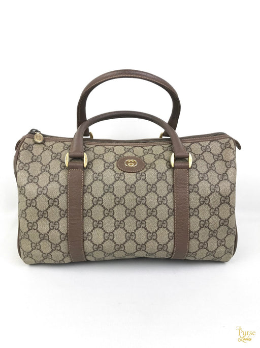 GUCCI Brown Coated Canvas GG Web Boston Satchel Bag
