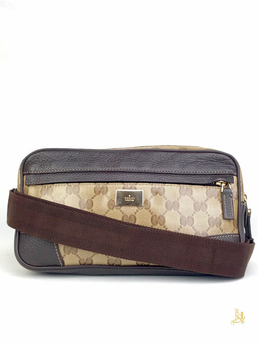 GUCCI Brown Crystal Coated Canvas GG Web Waist Bag