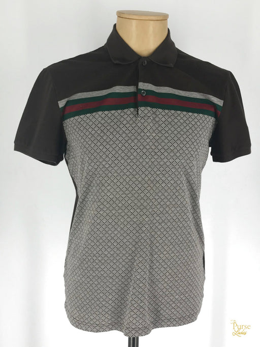 GUCCI Brown Diamonte Print Polo Shirt SZ XL Slim