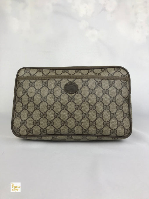 GUCCI Brown Coated Canvas GG Web Front Pocket Cosmetic Clutch Bag
