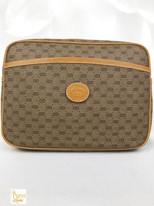 GUCCI Brown GG Web Coated Canvas Wristlet Bag