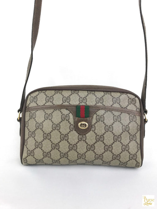 GUCCI Brown GG Web Coated Canvas Crossbody Bag