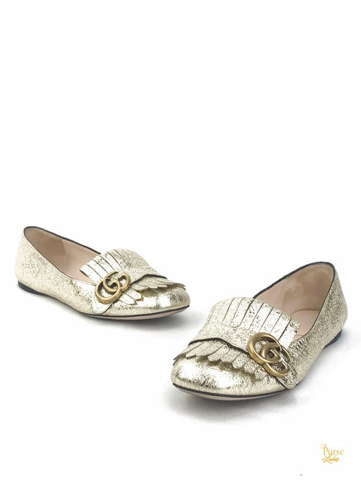 GUCCI Marmont GG Metallic Gold Leather Loafers Sz 37.5 Flat Fringe Sandals