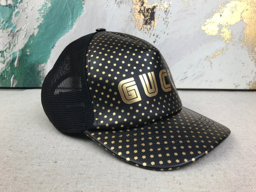 GUCCI Black Leather Guccy Saga Star Baseball Hat SZ L