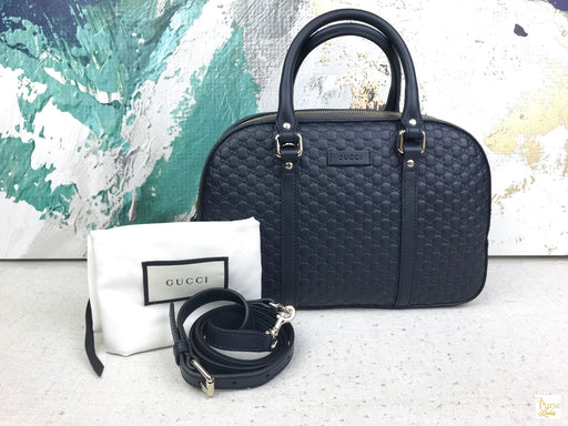 GUCCI Navy Blue Microguccissima Margaux 2 Way Bag
