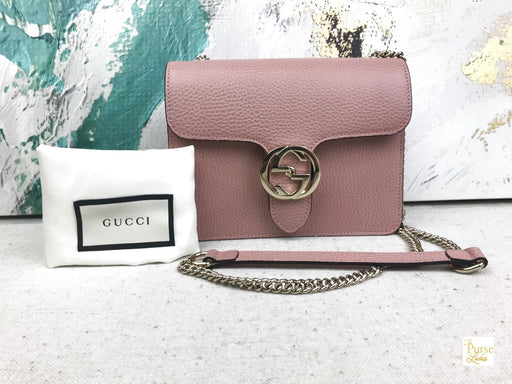GUCCI Pink Leather Interlocking G Crossbody