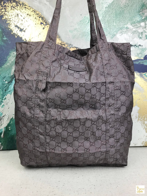 GUCCI Purple Nylon GG Web Packable Teddy Bear Tote