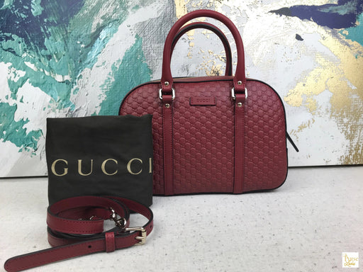 GUCCI Red Microguccissima Margaux 2 Way Bag