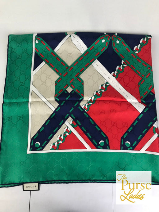 GUCCI Multi-Color Silk Chain Argyle Scarf