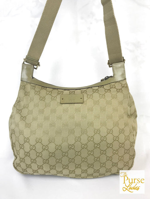 GUCCI Beige GG Web Canvas Messenger Bag