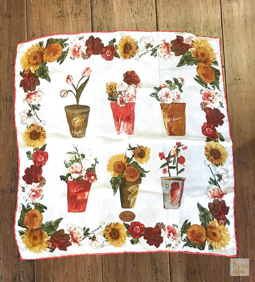 GUCCI Sheer Vintage Floral Pocket Square Scarf