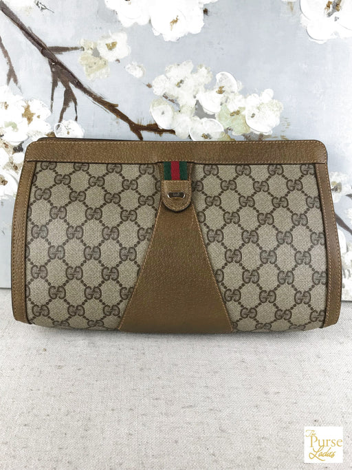 GUCCI Brown Coated Canvas GG Web Vintage Hook and Loop Clutch Stripe Bag Pouch