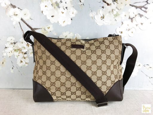 GUCCI Brown GG Web Shoulder Bag
