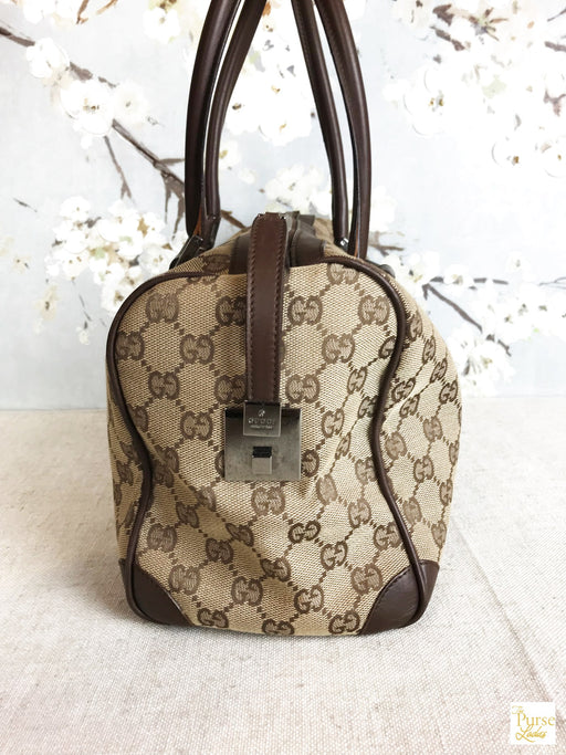 GUCCI Brown GG Web Satchel Bag