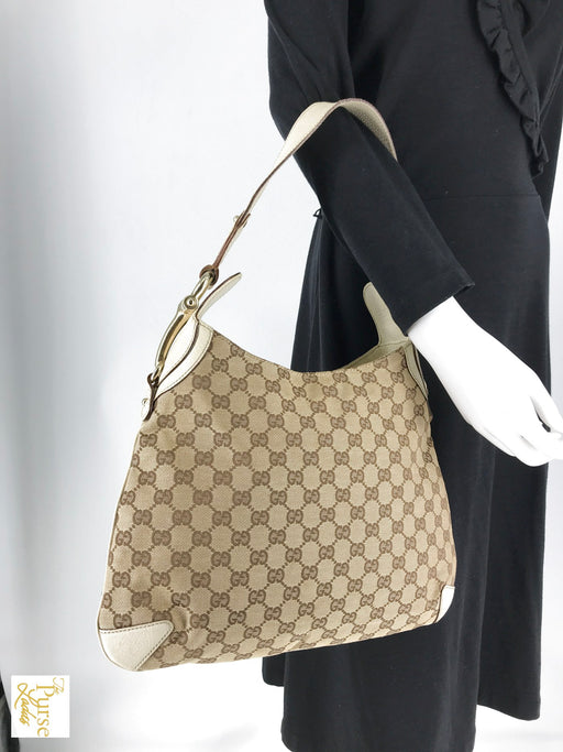 GUCCI Brown GG Web Canvas White Leather Hobo Bag Horsebit Zip