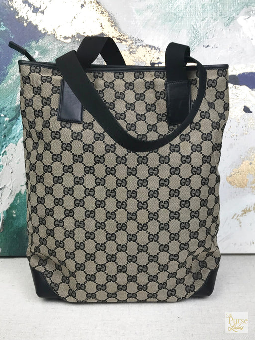 GUCCI Black GG Web Canvas Tote Bag