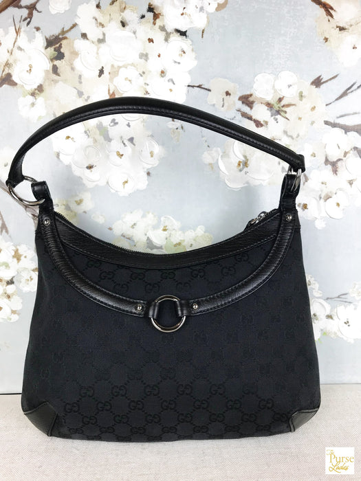 GUCCI Black GG Web Horsebit Canvas Shoulder Bag
