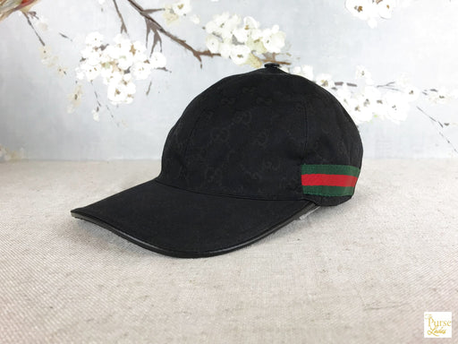 GUCCI Black GG Web Canvas Baseball Cap Hat SZ L