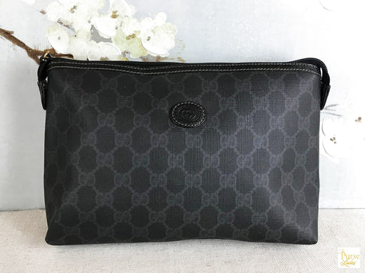 GUCCI Black GG Web Zippered Clutch Pouch