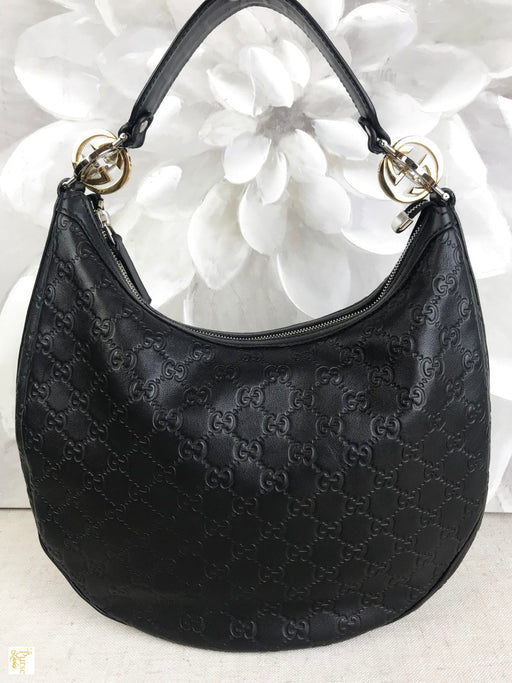 GUCCI Black Twins GG Guccissima Hobo Bag
