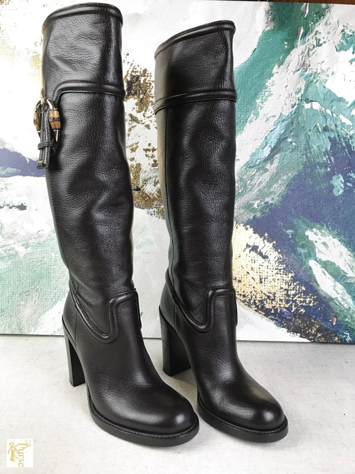 GUCCI Cocoa Leather Boots Sz 36.5 Women's Heels