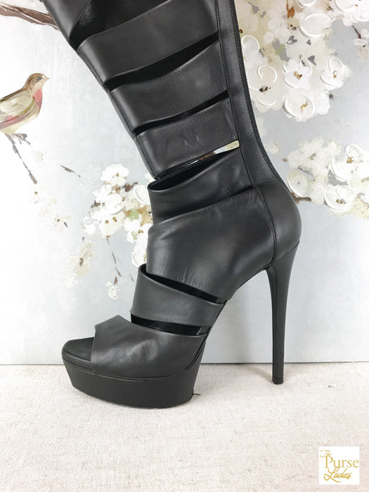 GUCCI Black Leather Cutout Helena Boots SZ 38