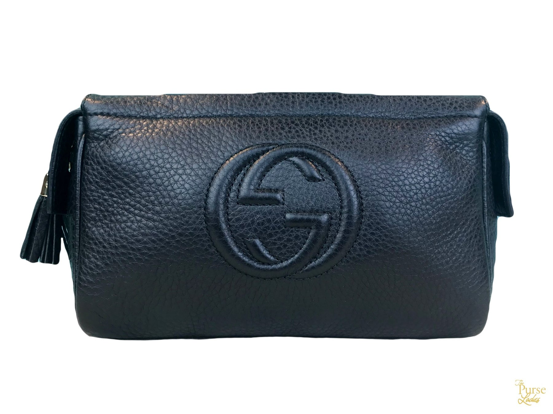 b3ee9280661b $390 GUCCI Soho Black Leather GG Logo Cosmetic Bag Clutch Toiletry Pouch