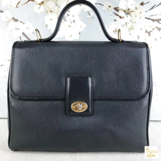 GUCCI Black Leather Turnlock 2 Way Satchel