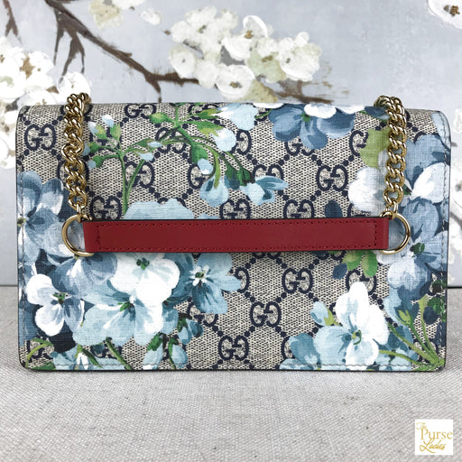 GUCCI GG Web Blooms Floral Chain Wallet