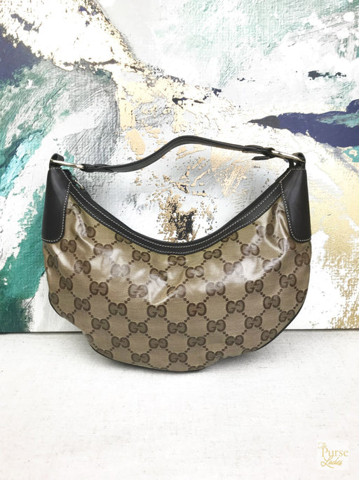 GUCCI Brown Large GG Crystal Coated Canvas Hobo