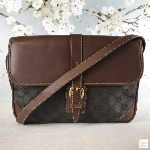 GUCCI Brown Monogram Crossbody Bag