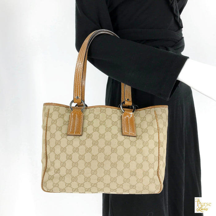 $895 GG Web Beige Monogram GG Web Print Canvas Leather Tote Bag SALE!
