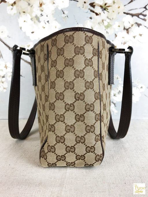 GUCCI Beige GG Web Canvas Tote Bag