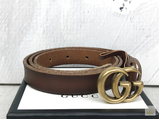 Gucci Brown Leather Thin GG Belt