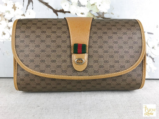 GUCCI Beige GG Web Yellow Pouch Clutch Bag