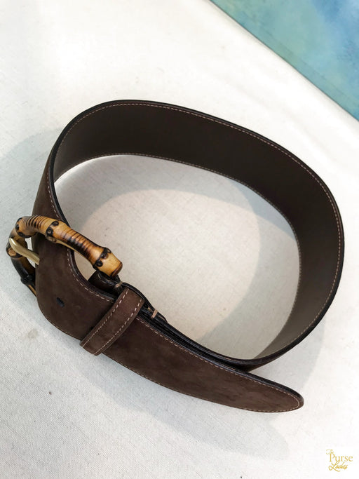 GUCCI Brown Bamboo Buckle Belt