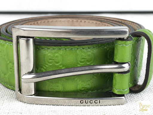 GUCCI Green Micro Guccissima Leather Belt SZ 90/36
