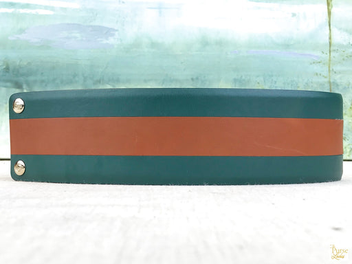GUCCI Green Leather Striped Waist Belt SZ 65/26