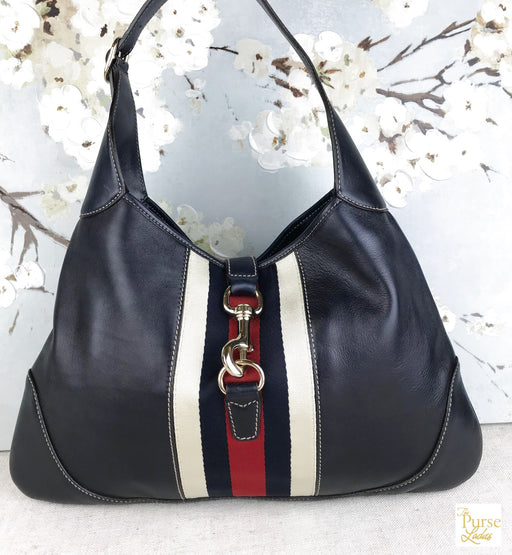 GUCCI Navy Blue Leather Jackie O Hobo Bag