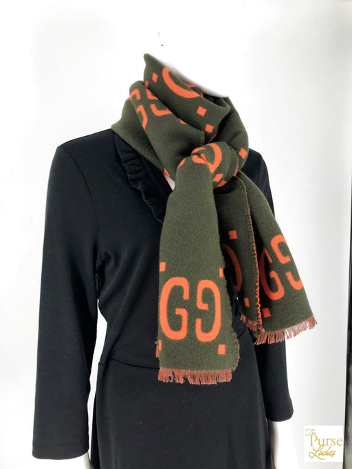 GUCCI Orange GG Web Wool Scarf