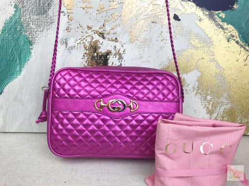 GUCCI Pink Metallic Quilted Leather Trapunata Crossbody
